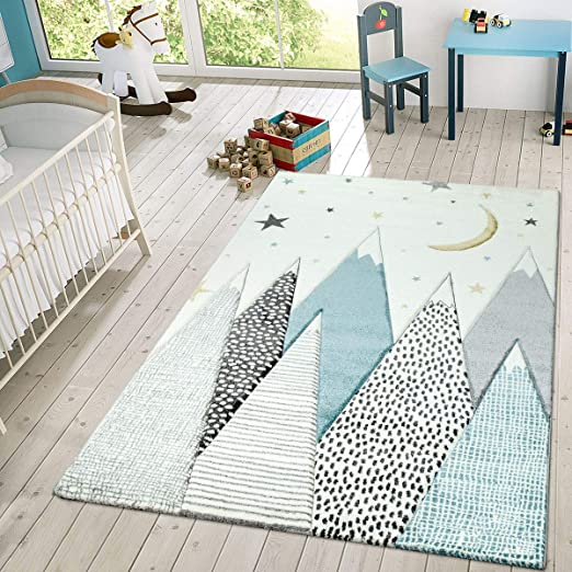 Grey 17 Sizes Stars Children Play Rug