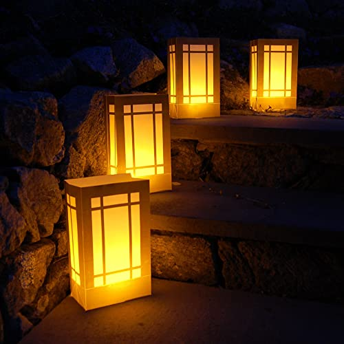 Lumabase 77206 6 Count Gold Lantern Battery Operated Luminaria Kit with Timer
