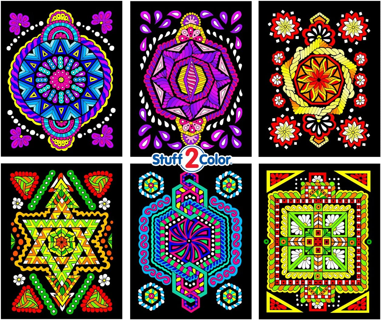 6-Pack of 8x10 Velvet Posters Triangle Octagon Square Circle Pentagon Hexagon