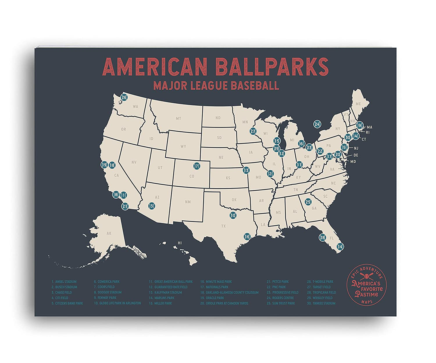 Epic Adventure Maps Major League Baseball Travel Map - Mark Your Travels to  Your Favorite MLB Baseball stadiums - Great Graduation Gift or Gift for