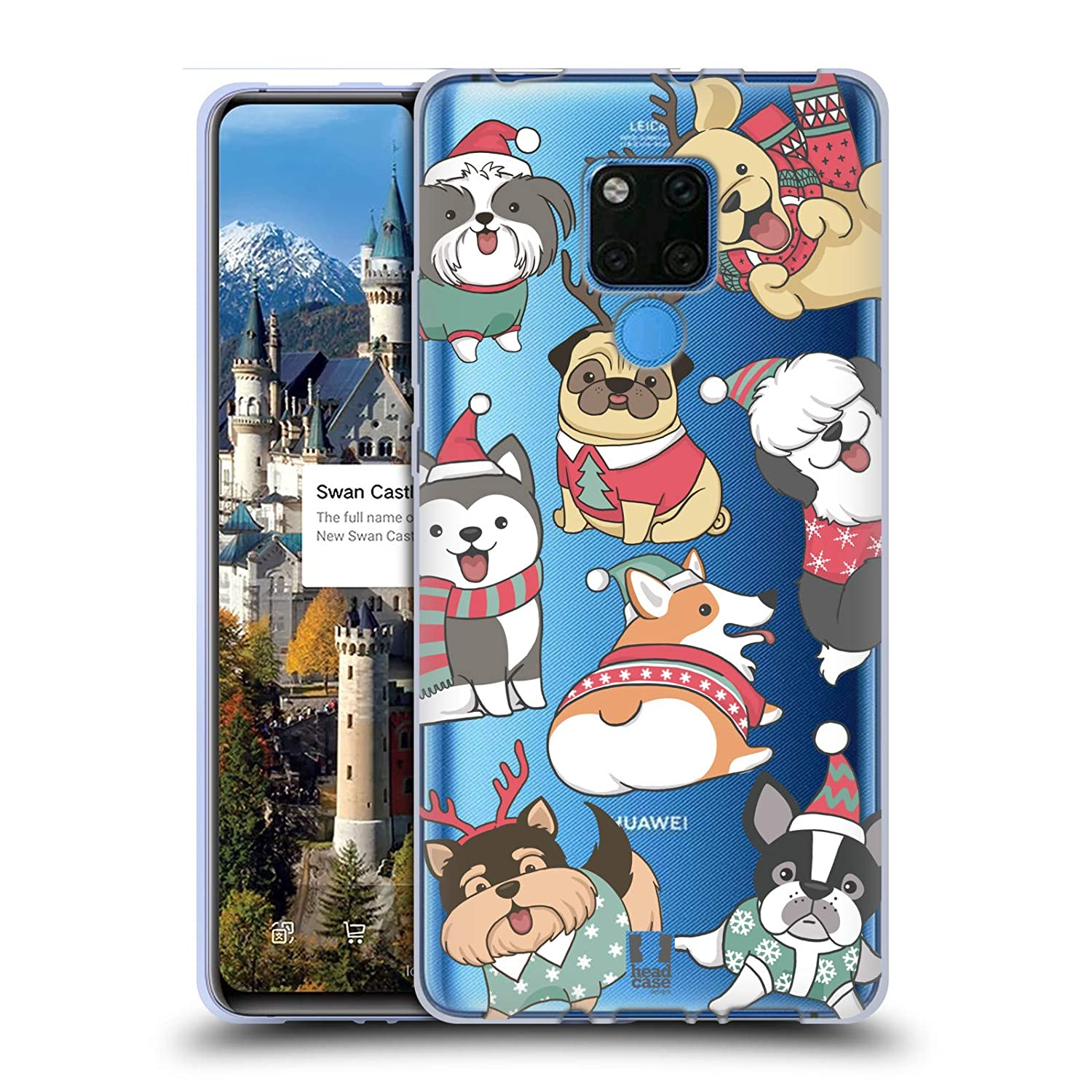 Head Case Designs Dogs Christmas Pets Soft Gel Case Compatible for Huawei P30 Pro