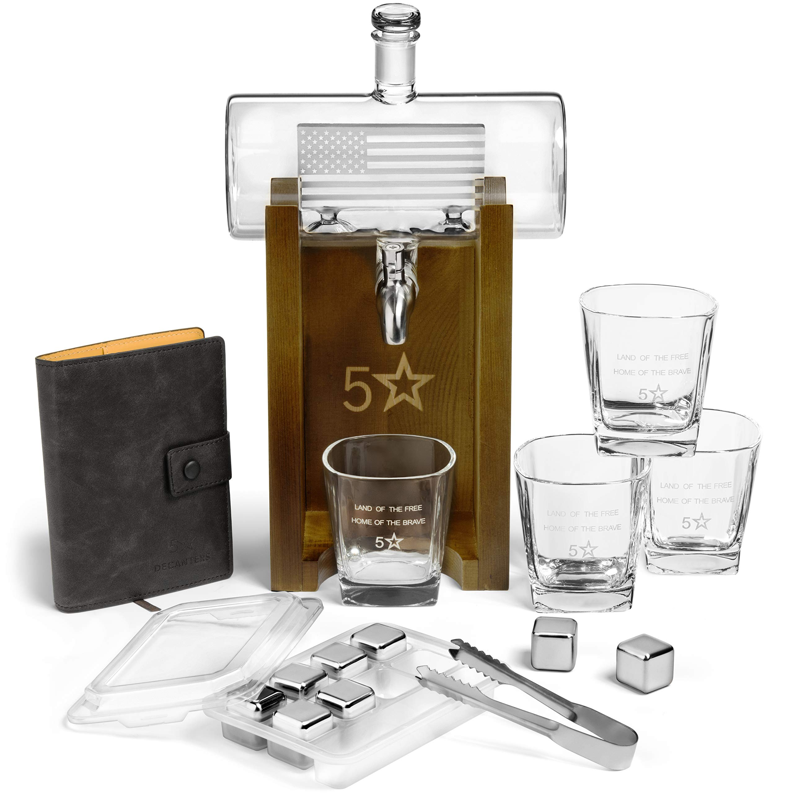 5 Star Decanters, 850mL Scotch Whiskey American Flag Decanter Set - Includes Liquor Dispenser, 4 Etched Whiskey Glasses, Wooden Stand, Stainless Steel Ice Cubes, Ice Tongs, Drinking Memento Booklet by 5 Star Decanters (Image #1)