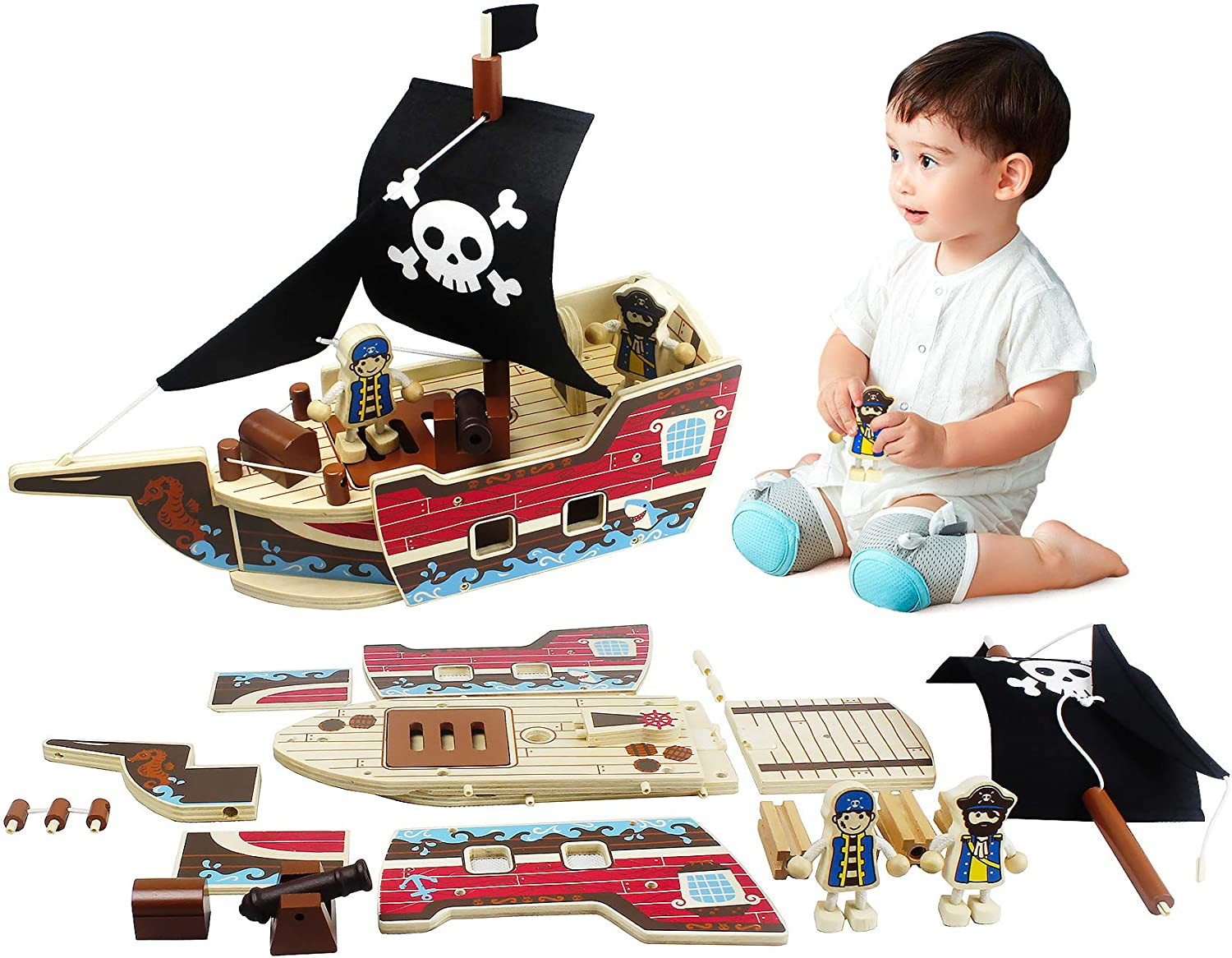 Ealing Wooden Pirate Ship Toy 31pcs Building Playset Model Ships for Kids Creative Building Toys Wood Craft Kits for Children Who Like Adventures Birthday for Kids Ages 3 Years and Up