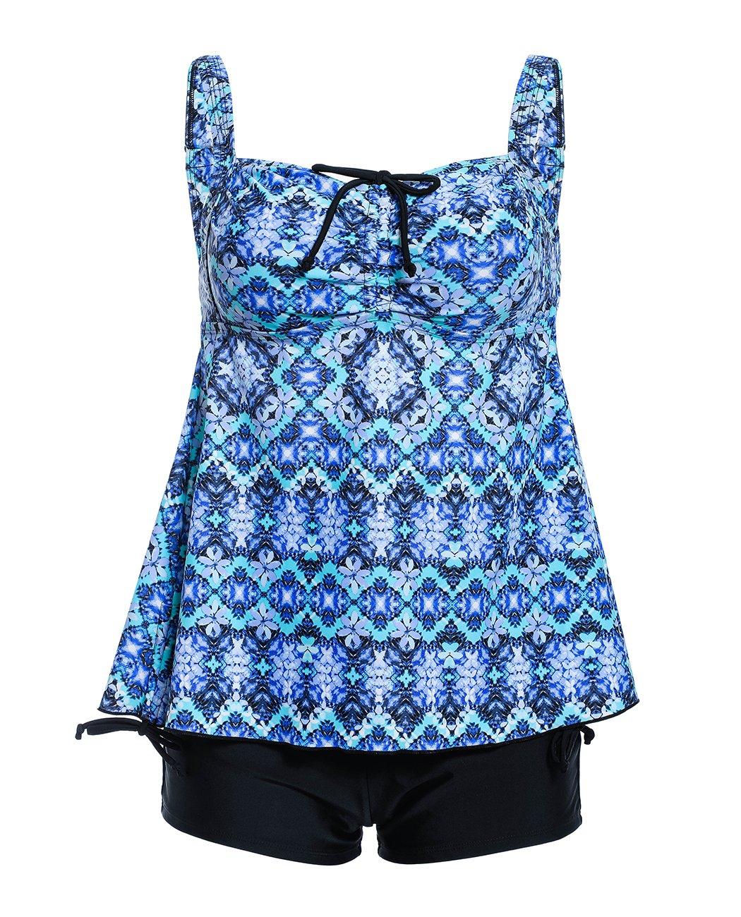 iDrawl Damen Tankini Set Große Größen Zweiteiliger Bauchweg Push up Badekleid mit Badehose