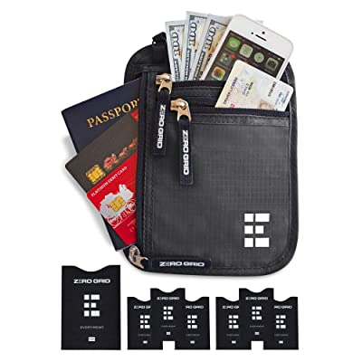 8a25a8a634f Zero Grid Best Neck Wallet RFID Blocking- Concealed Travel Pouch   Passport  Holder