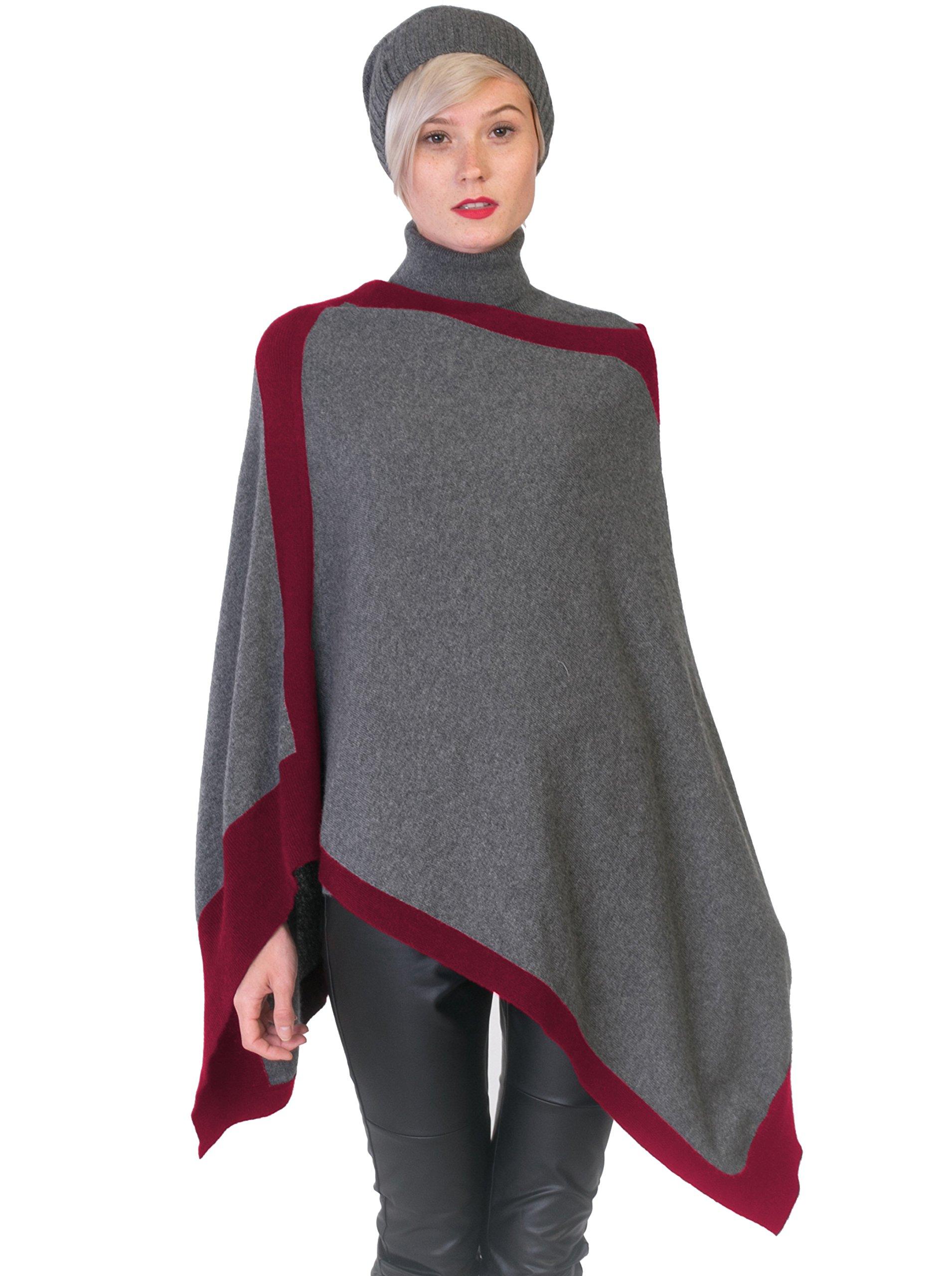cashmere 4 U 100% Cashmere Poncho Asymmetrical Boat Neck Wraps For Women by cashmere 4 U (Image #1)