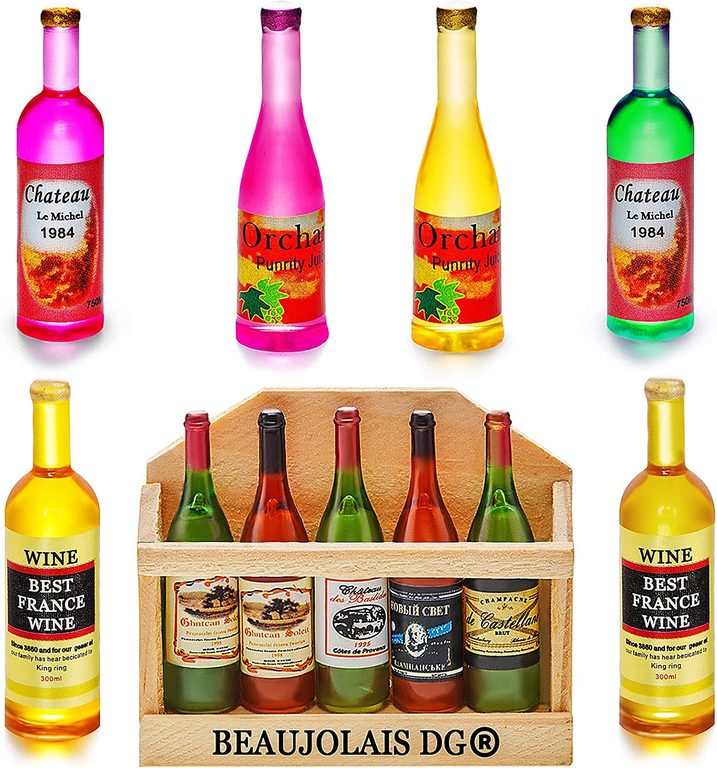 Hungdao 12 Pieces 1:12 Scale Miniature Wine Bottle Mini Wine Bottle Model for Doll House Doll Pub Bar Drink Doll House Play Food Accessories