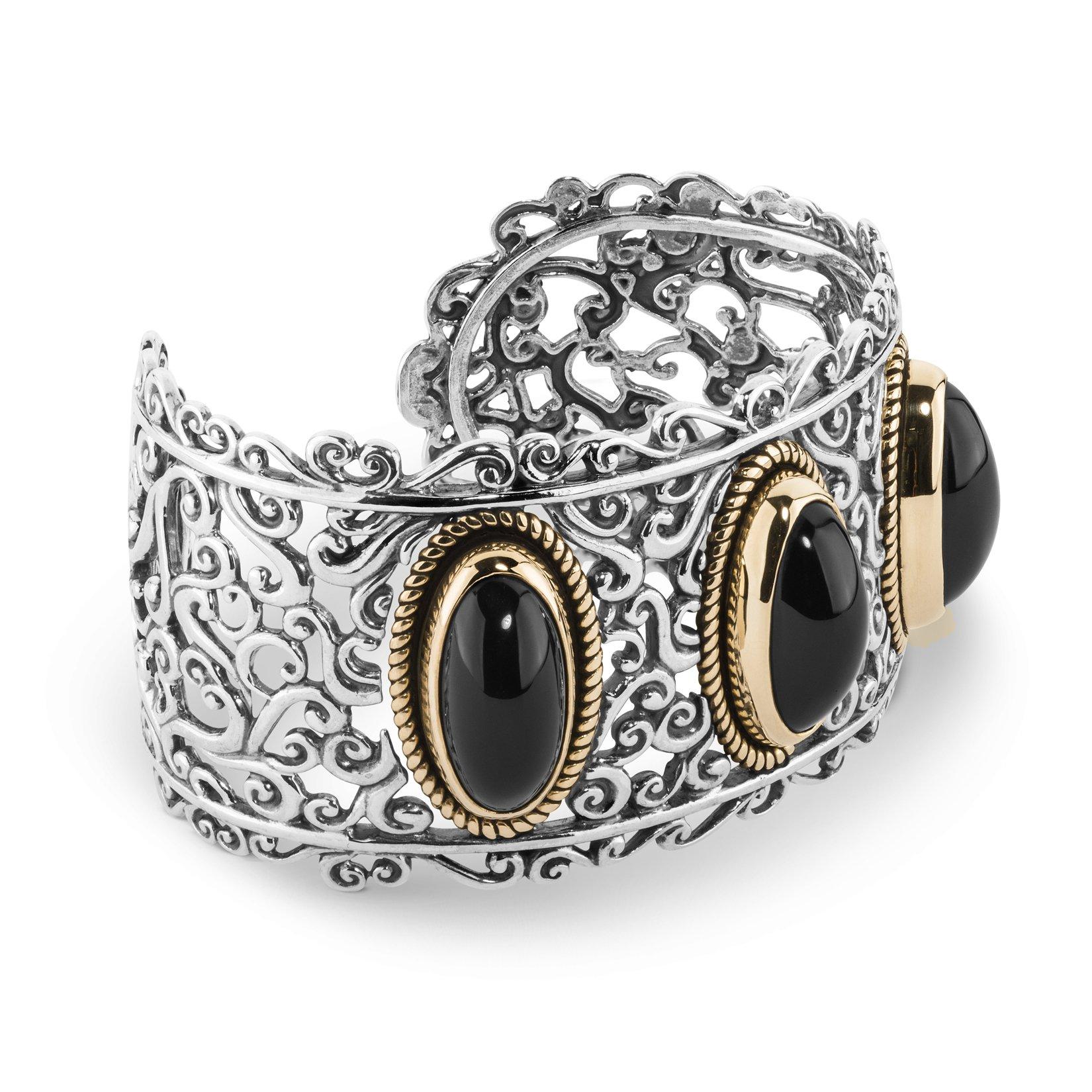 Carolyn Pollack Sterling, Brass, & Black Agate Bold Cuff Bracelet (Large)