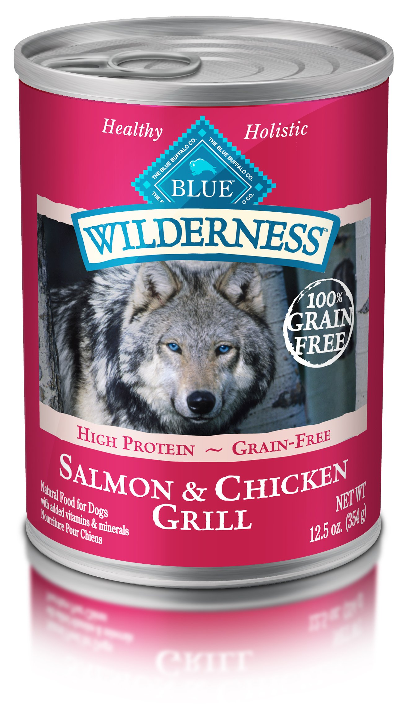 Blue Buffalo Wilderness High Protein Grain Free, Natural Adult Wet Dog Food, Salmon & Chicken Grill 12.5-Oz Can (Pack Of 12) by Blue Buffalo