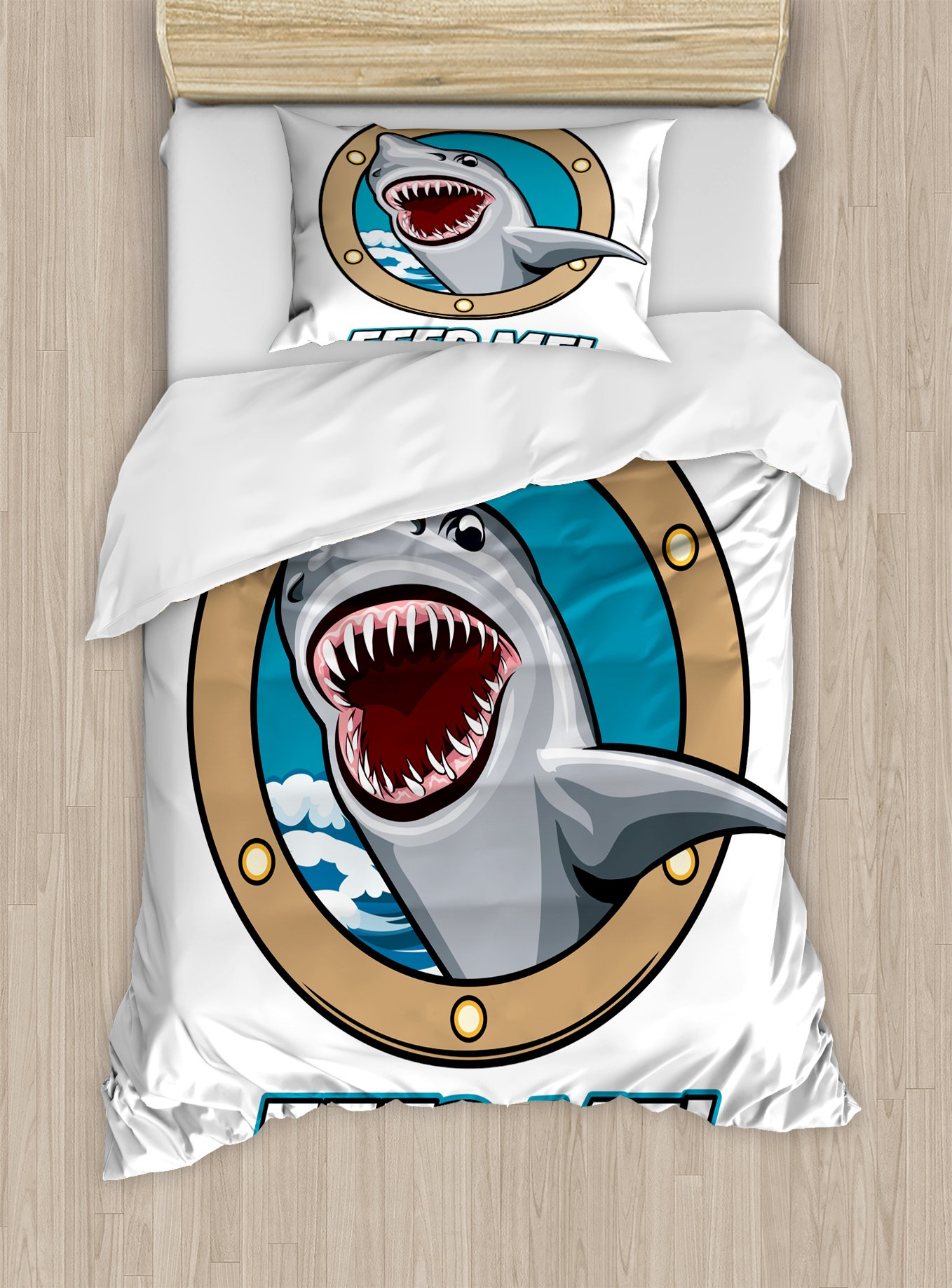 Ambesonne Shark Duvet Cover Set Twin Size, Funny Vintage Feed Me Quote with Hungry Hound Shark Head in Ship Window Humor Print, Decorative 2 Piece Bedding Set with 1 Pillow Sham, Multicolor