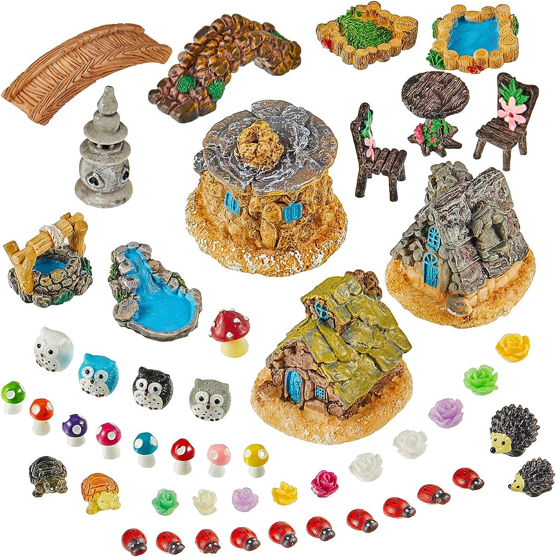 Skylety 49 Pieces Fairy Miniature Garden Accessories, Miniature Garden Figurines and Houses DIY Micro Landscape Ornaments for Garden Dollhouse Potted Plant Bonsai Terrarium Decoration