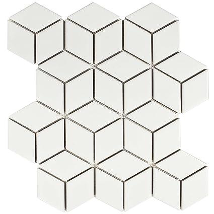 SomerTile FMTRHOMW Retro Rhombus Porcelain Mosaic Floor & Wall Tile ...