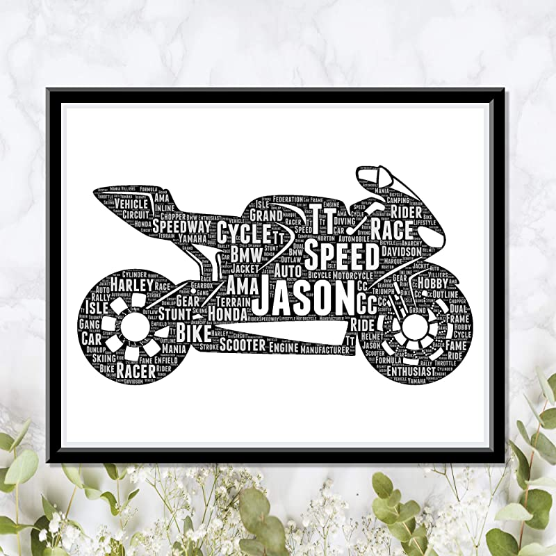 Motor Cycle Personalized Print - Typography Word Art Wordle Wall Art Decor Poster Biker Gift - Birthday Gifts for Men Women Dad…