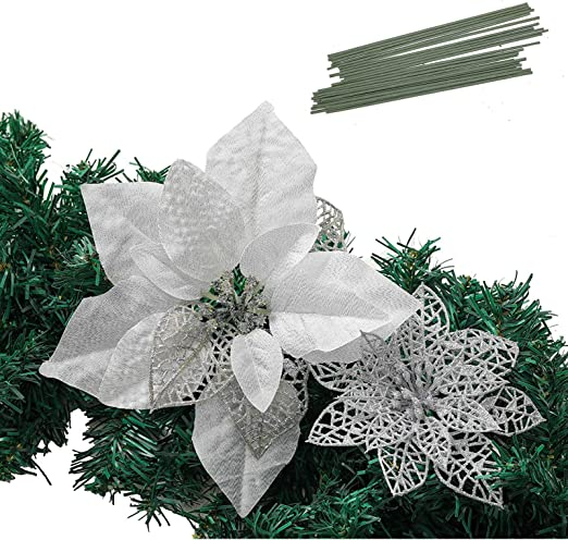 Amazon Com Christmas Poinsettia Ornament Glitter Christmas Tree Decoration Artificial Poinsettia Flower Xmas Holiday Home Decor Pack Of 24 Silver Kitchen Dining