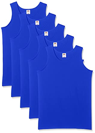 421d83a8a37c97 Fruit of the Loom Herren 5-Pack Athletic Mens Unterhemd, Blau (Königsblau)