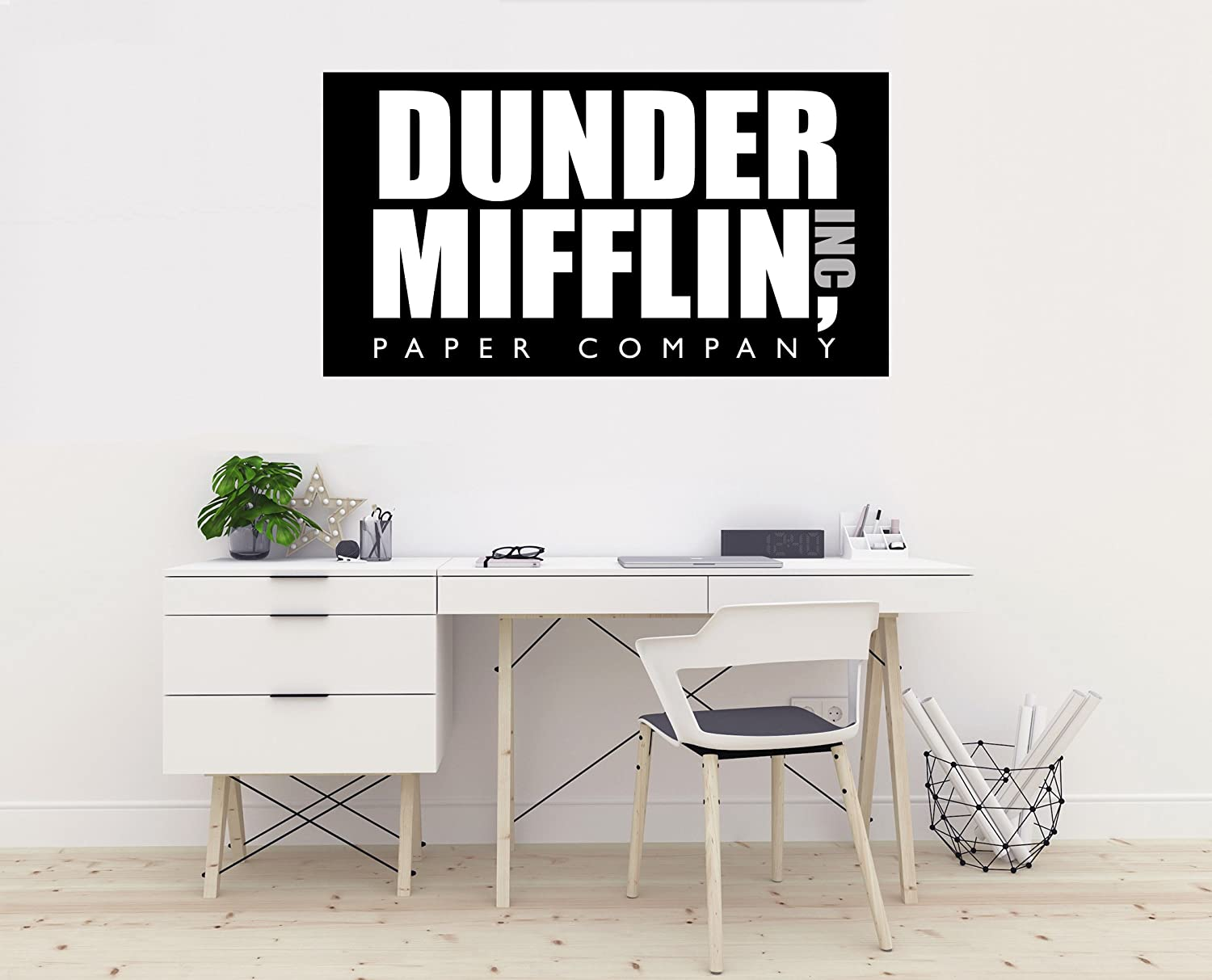 "Ottosdecal Dunder Mifflin Paper Company Logo- The Office - Wall Decal Vinyl Sticker for Home Interior Decoration Car Laptop (25"" x 14"")"