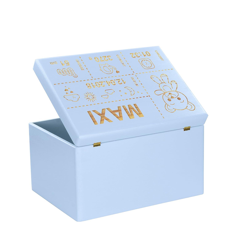 LAUBLUST/® Personalisiert mit ❤️ GEBURTSDATEN ❤️ Blau Gr/ö/ße XL Holzkiste mit Gravur Teddyb/är Motiv Erinnerungskiste als Geschenk zur Geburt