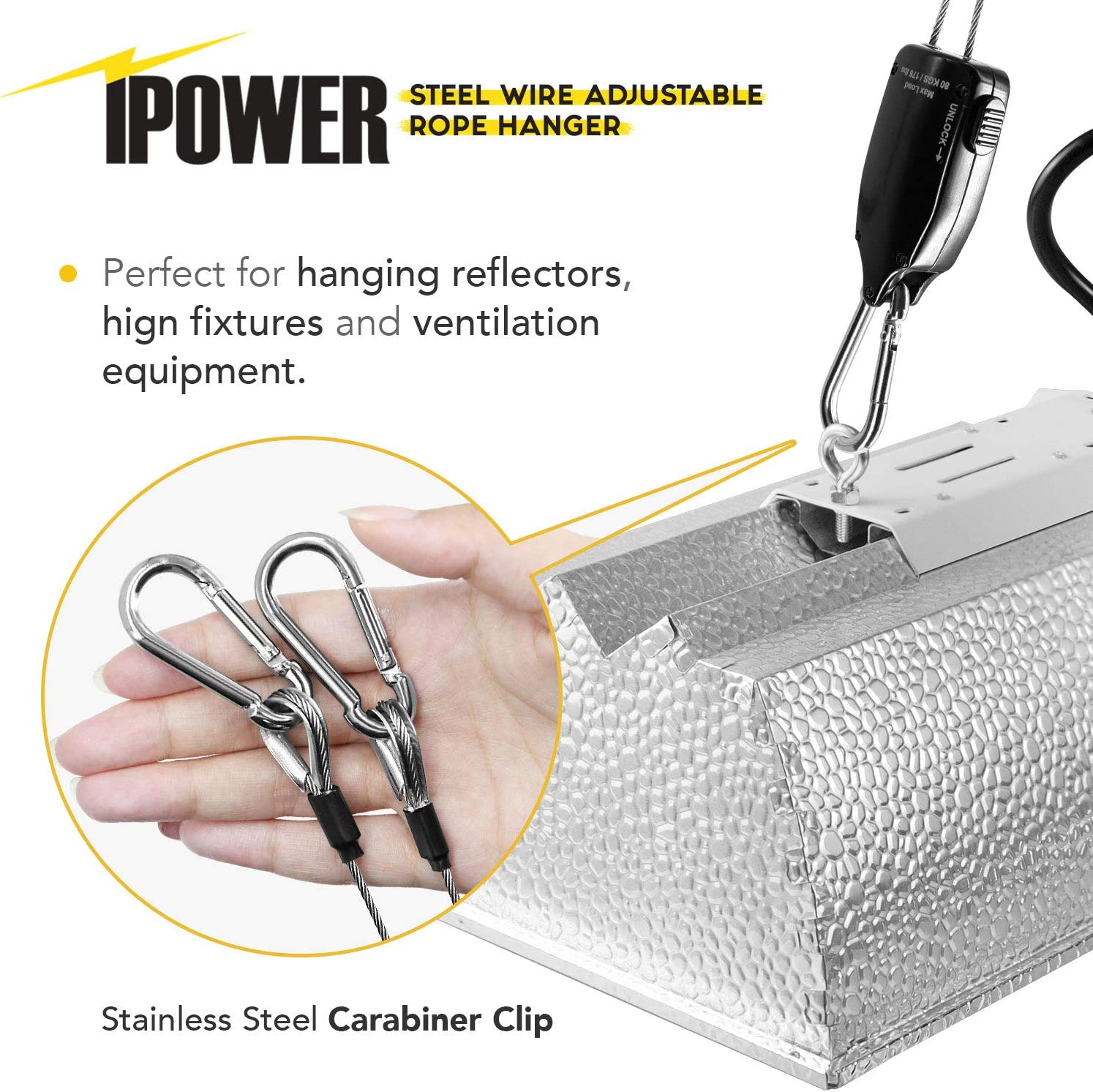 iPower GLROPESTWI 1-Pack 4.9-Feet Long Steel Wire Heavy Duty Adjustable Grow Light Rope Clip Hanger Black 176lbs Weight Capacity