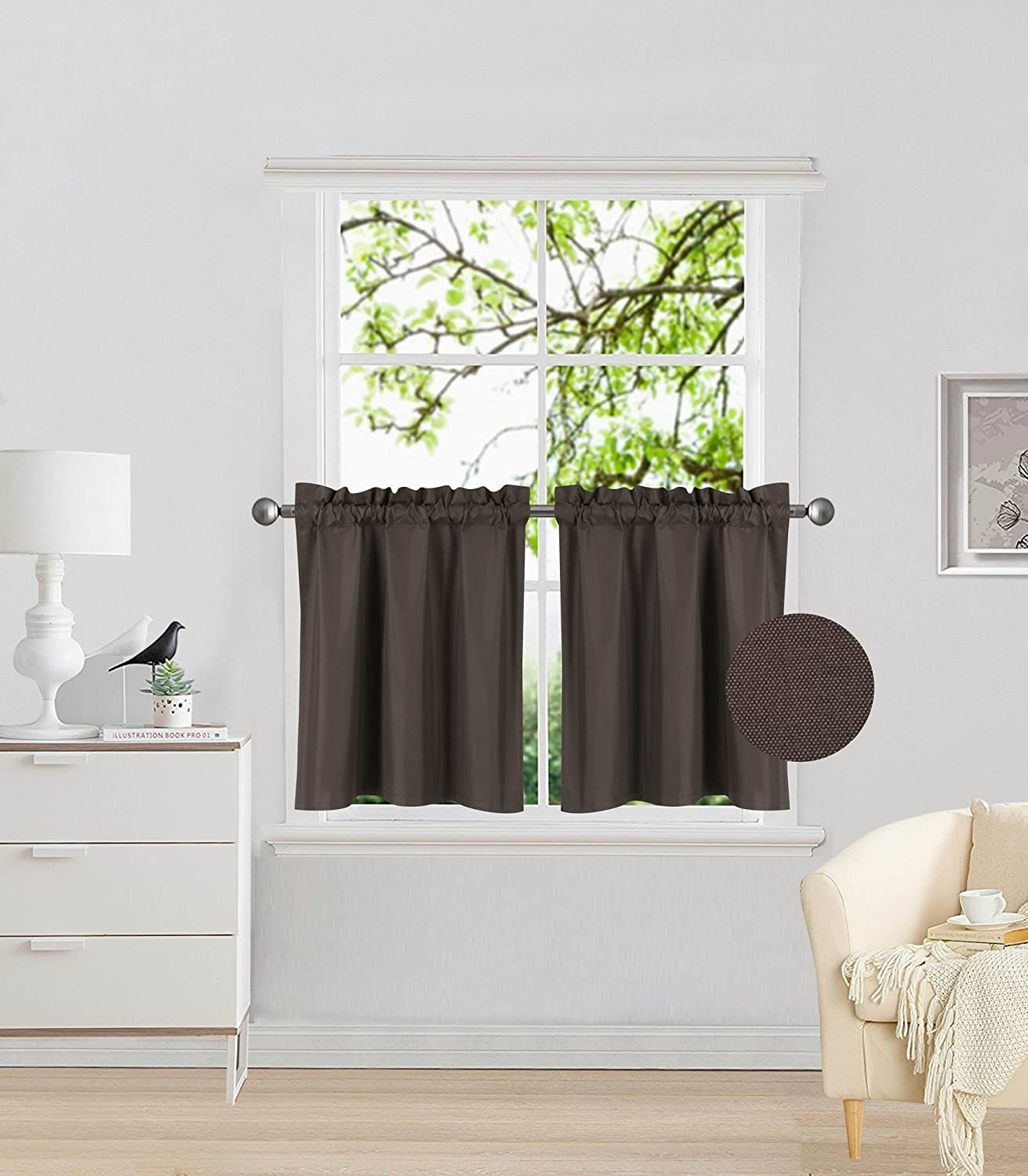 "Elegant Home 2 Panels Tiers Small Window Treatment Curtain Insulated Blackout Drape Short Panel 30""W X 24""L Each for Kitchen Bathroom or ANY Small Window # R16 (Brown / Coffee)"