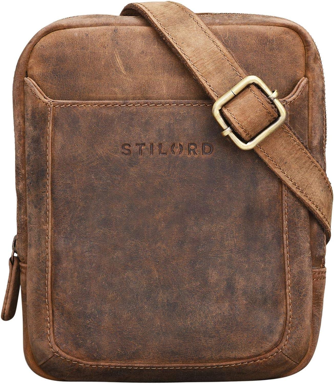 STILORD 'Costa' Mariconera Cuero para Hombres Bolso Pequeño Vintage para Hombres Bolsito Mensajero Bolsa de Hombro o Bandolera Piel Auténtico, Color:marrón - Medio