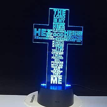 Solo 1 pieza Jesucristo Cruz USB 3D LED Luz de noche