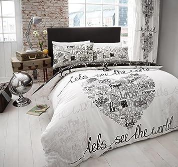 clicktostyle monde Noir/Blanc Parure de lit avec housse de couette ...
