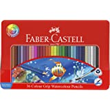 Faber-Castell Watercolour Colour Grip Pencils Gift Tin of 36, (16-116247)