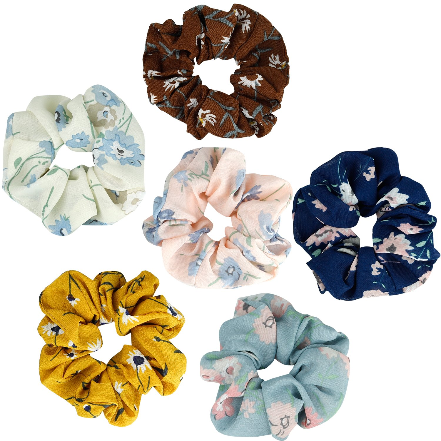 KECUCO 12A Colors Women's Chiffon Flower Hair Scrunchies Hair Bow Chiffon Ponytail Holder,Including 8 Colors Chiffon Flower Hair Scrunchies and 4A Solid Colors Chiffon Hair Ties (STYLE 1)