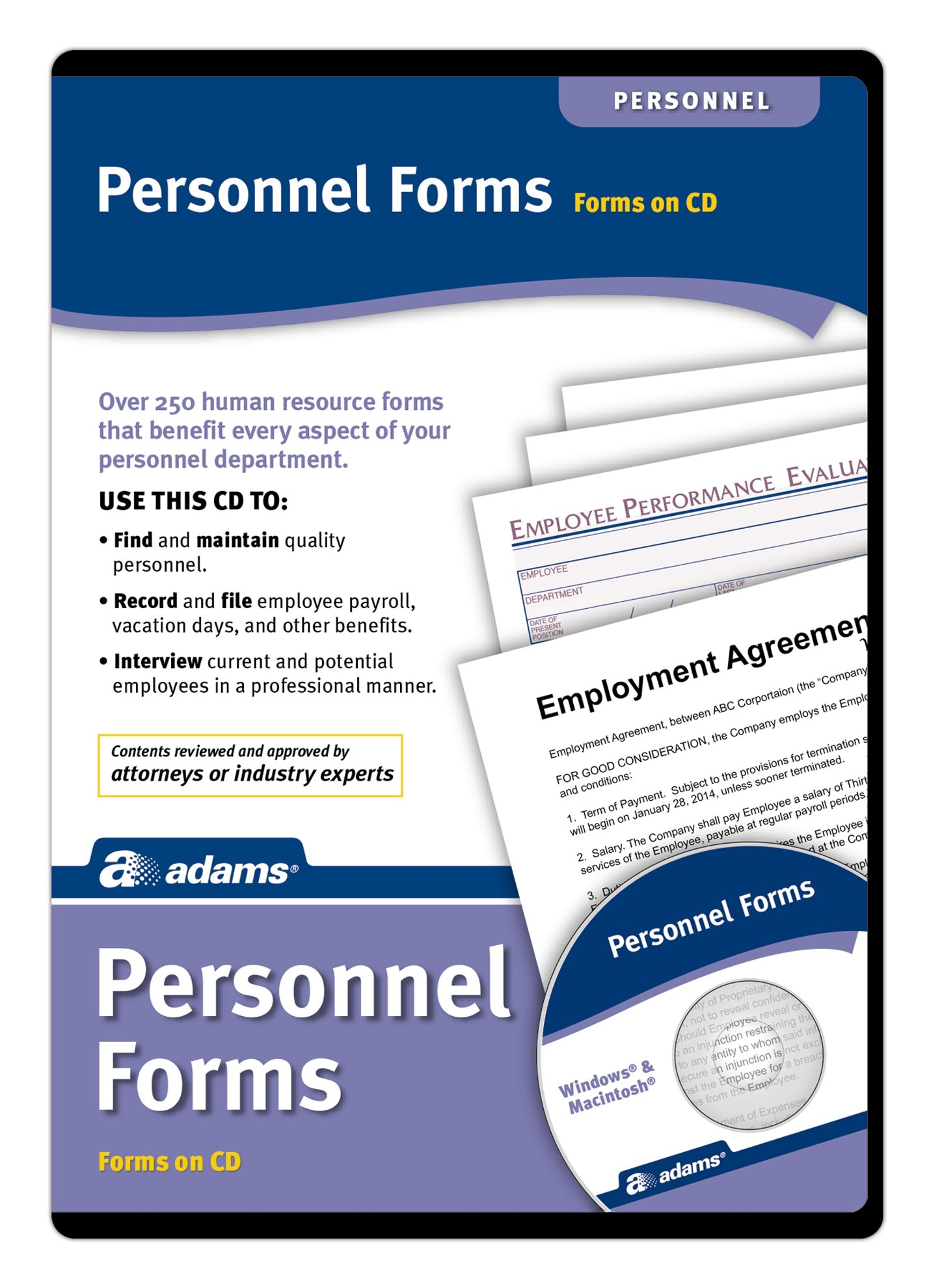 Adams Employee Personnel Forms CD, Over 250 Human Resource Forms on CD (HR453)