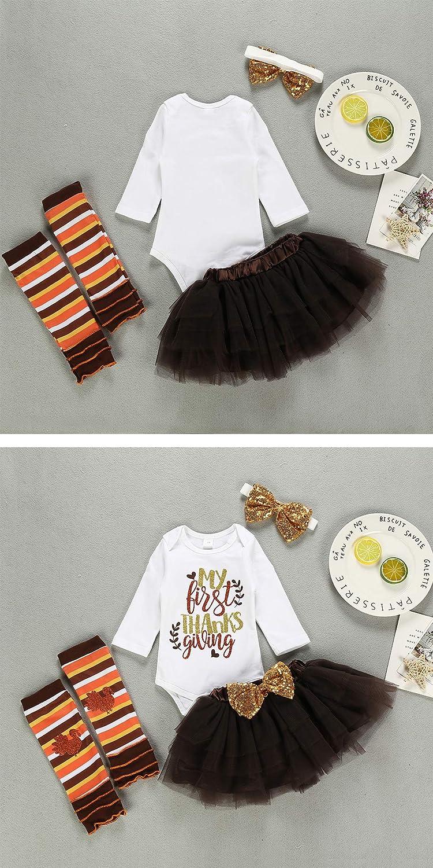 My First Thanksgiving Baby Girls Outfits Floral Ruffle Sleeve Romper+Tutu Dress+Golden Headband+Leg Warmers 4Pcs Skirt Set