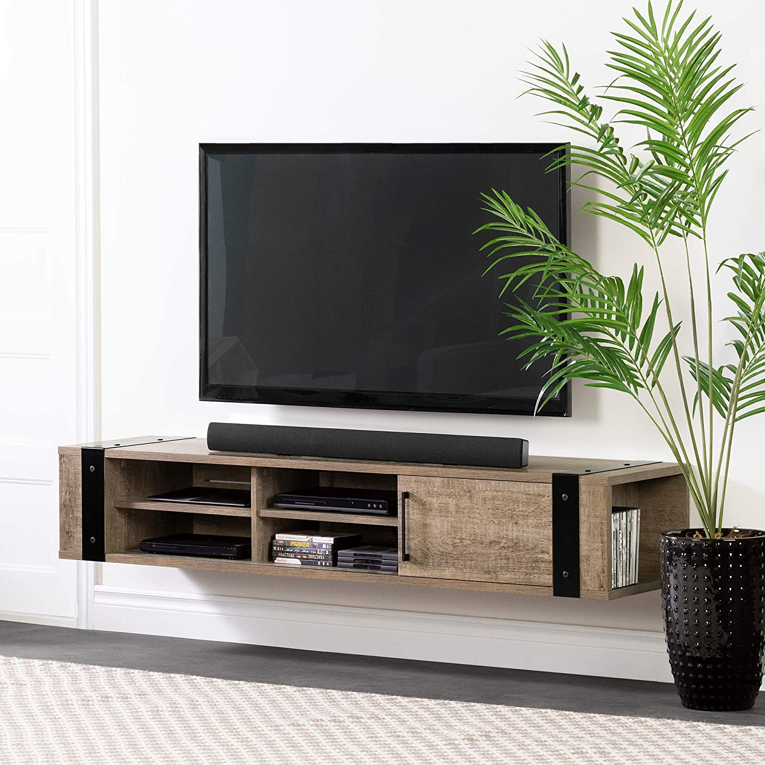 South Shore Munich 68 Wall Mounted Media Console-Weathered Oak