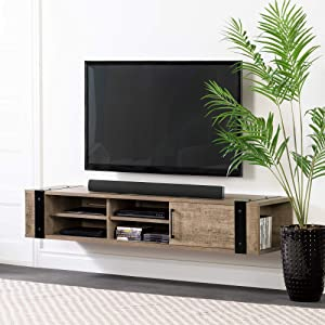 "South Shore 12288 Munich 68"" Wall Mounted Media Console-Weathered Oak"