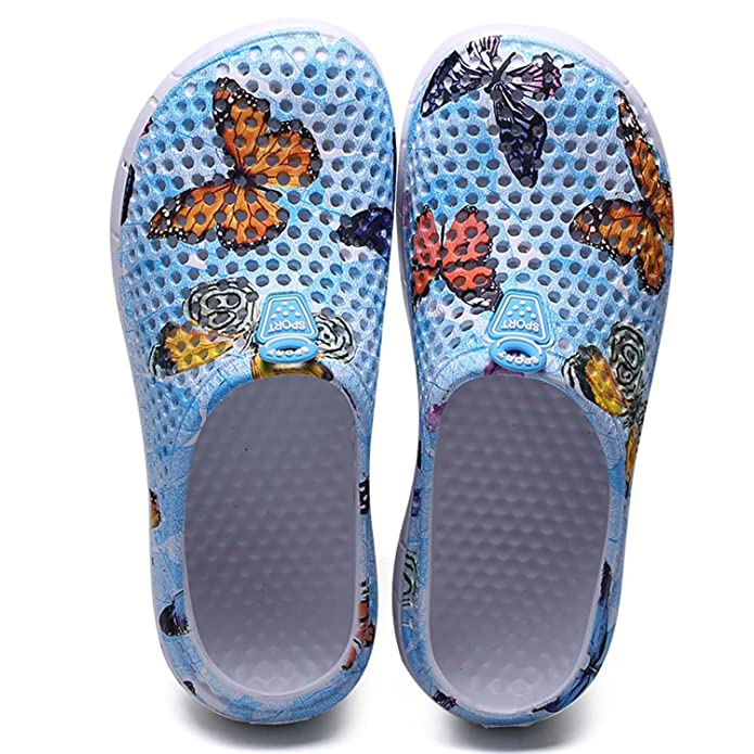 HMAIBO Garden Clogs Shoes Summer Breathable Lightweight House Slippers Indoor Room Shoes Walking Sandals Outdoor Shower Shoes Beach Sport Quick Dry Home Men Women Ladies Cyan Butterfly 39