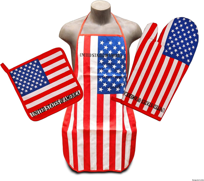 United States Flag Kitchen & BBQ Set *New* w/ Apron, Oven-mitt & Pot-holder American Flag U.S.