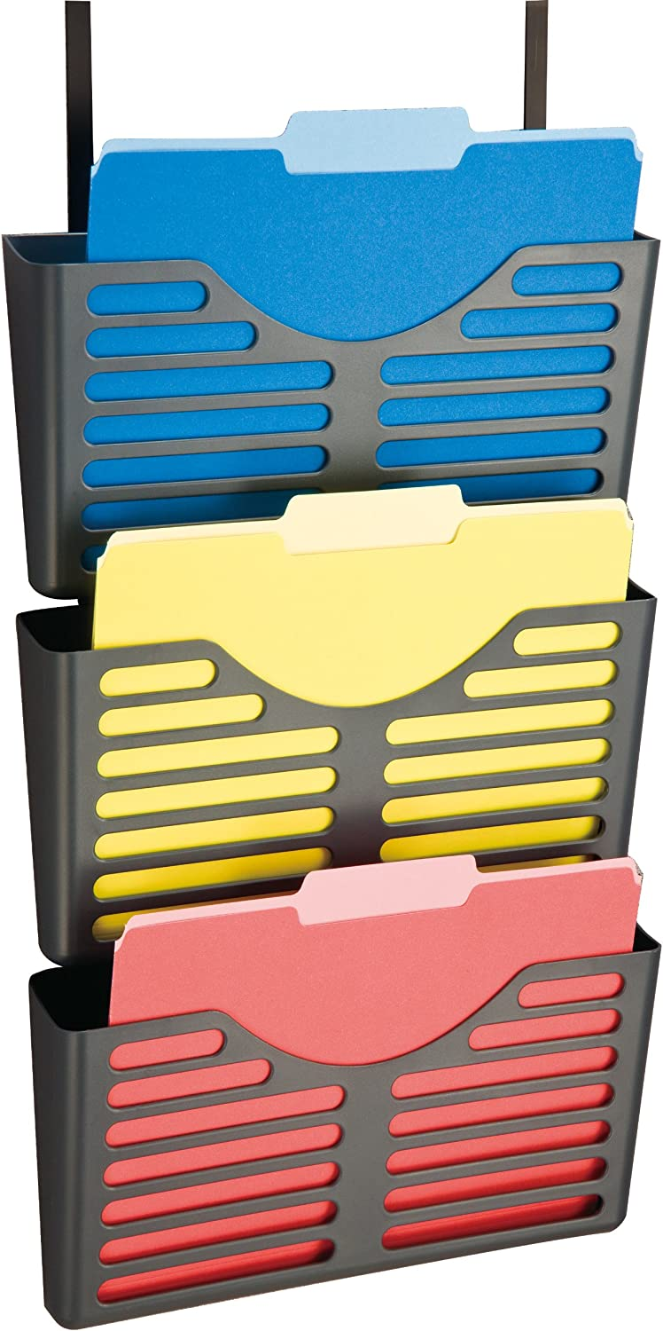 Officemate Verticalmate File Pocket with Hanger Set, Gray, 3 Pack (29314)
