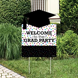 product image for Big Dot of Happiness Hats Off Grad - Graduation Decorations - Graduation Party Welcome Yard Sign