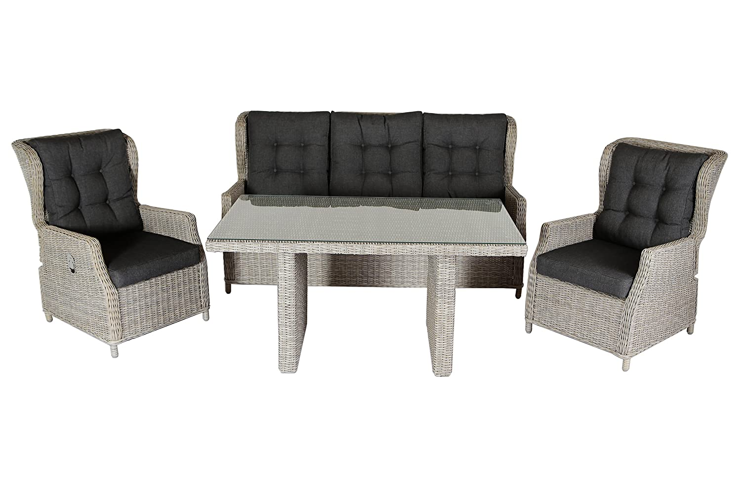 villana exklusive lounge set gartenlounge aus hochwertigem polyrattan und aluminium in braun f r. Black Bedroom Furniture Sets. Home Design Ideas