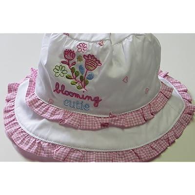 'Maximo fille Chapeau Blanc avec bord à carreaux, motif fleurs Blanc/rose, Taille 50