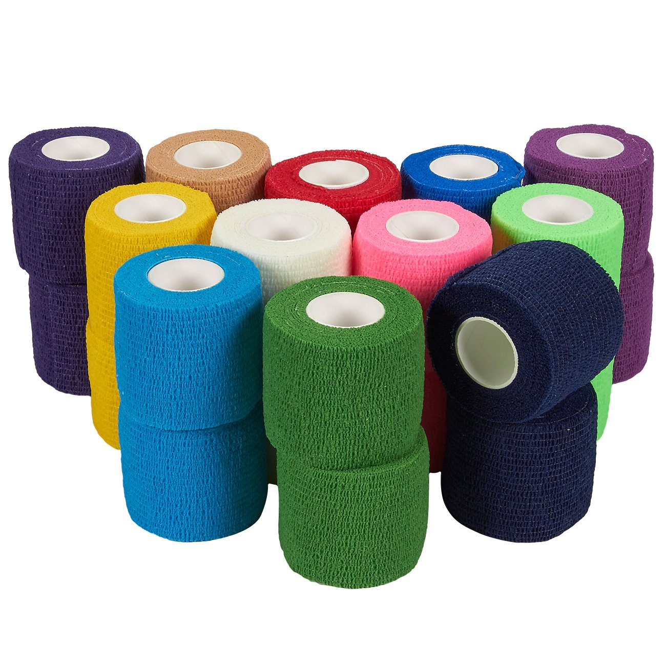 Self Adherent Wrap - 24 Pack of Cohesive Bandage Medical Vet Tape for First Aid, Sports, Wrist, Ankle in 12 Colors with 2 Rolls Each, 2 inches x 5 Yards