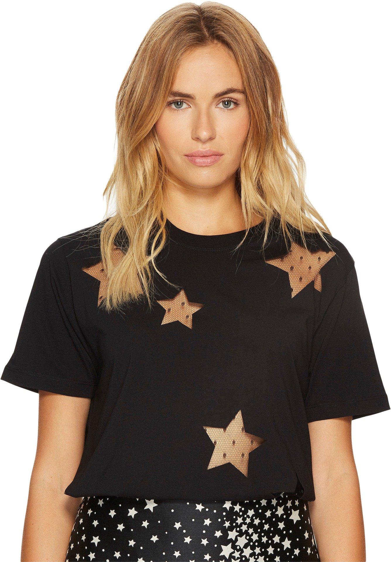 RED VALENTINO Women's Light Cotton Jersey & Heatsealed Point D'Esprit Stars Top Black Large