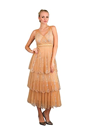 08c70d6957b Nataya 40235 Women s Romantic Vintage Inspired Wedding Dress in Gold ...