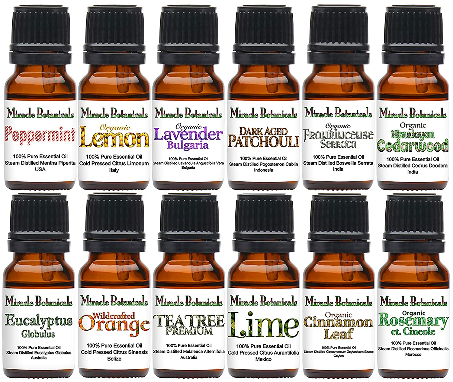 Miracle Botanicals Advanced Essential Oil Intro Set - Set of (12) 100% Pure Therapeutic Grade Essential Oils - (12) 10ml