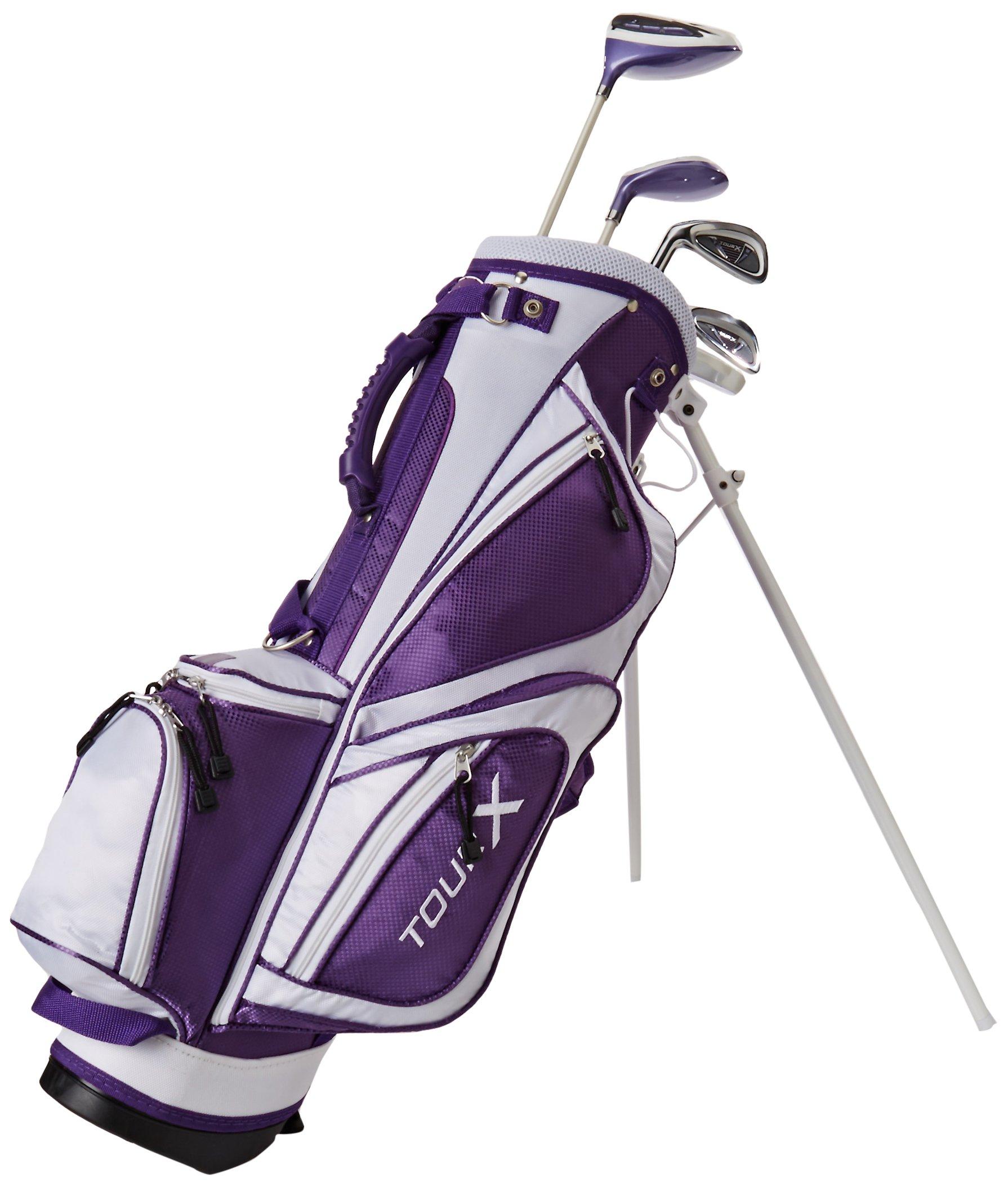 Merchants of Golf Tour X Purple 5-Piece Junior Golf Complete Set with Stand Bag, Left Hand, 8-11 Age, Graphite, Regular