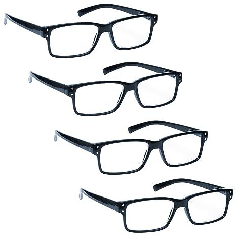 La Compañía Gafas De Lectura Azul Negro Lectores Valor Pack 4 Hombres Mujeres Bisagras Resorte RRRR45-3 +1,50