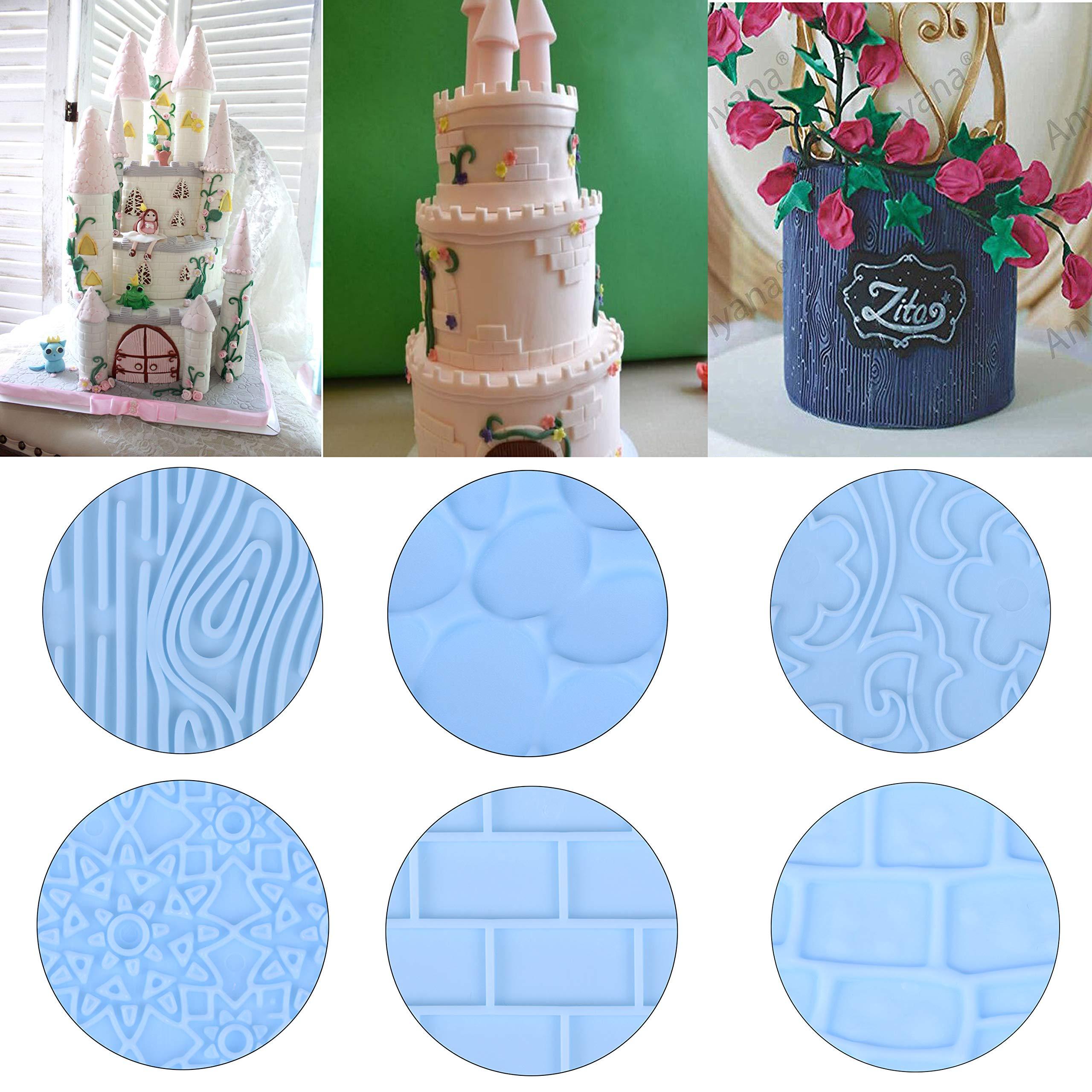 Xgood 6 Pcs Fondant Impression Mat Set Cake Decor Mold Set-Embossed Tree Bark/Flower/Cobblestone Texture Design Sugarcraft Decor Tool for Cupcake Top Decoration by Xgood (Image #6)
