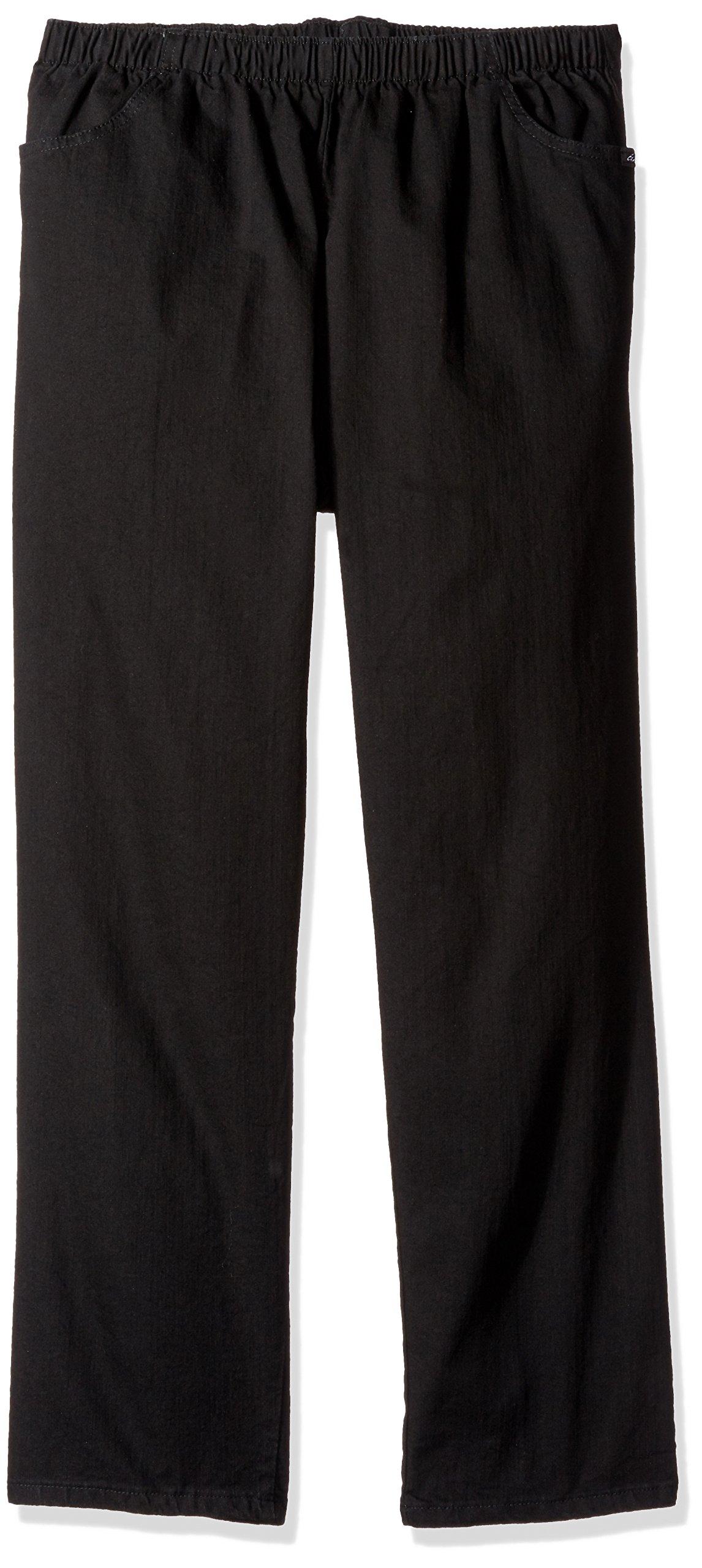 Chic Classic Collection Women's Petite Plus Cotton Pull-on Pant with Elastic Waist, Black Denim, 24P