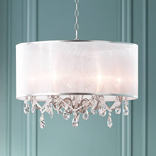 Farina Antique Silver Drum Pendant Chandelier 23 Wide Clear Crystal Acrylic Beads Sheer Organza Fabric Shade 6-Light Fixture Dining Room House Island Entryway Living Room – Possini Euro Design
