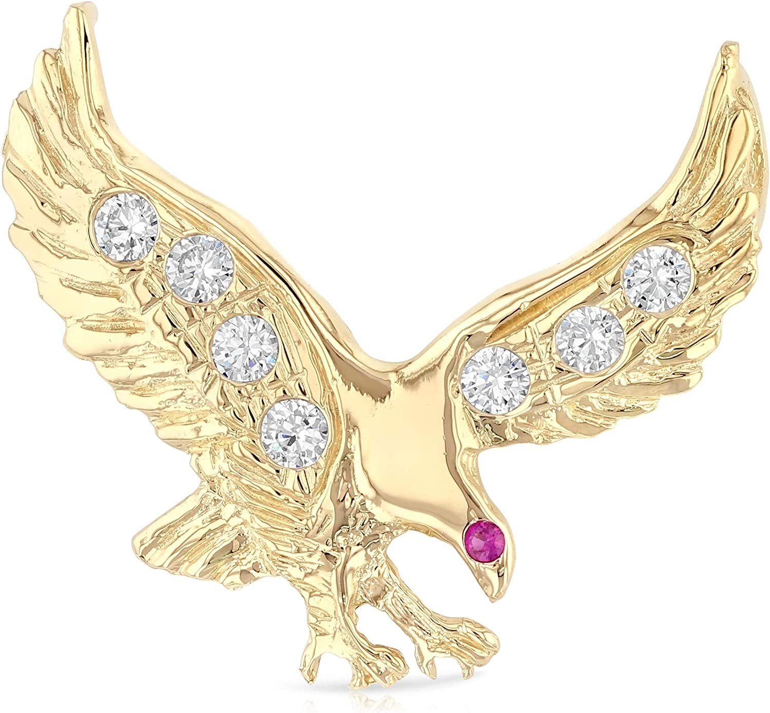 14K Two Tone Gold Cubic Zirconia CZ Eagle Charm Pendant For Necklace or Chain