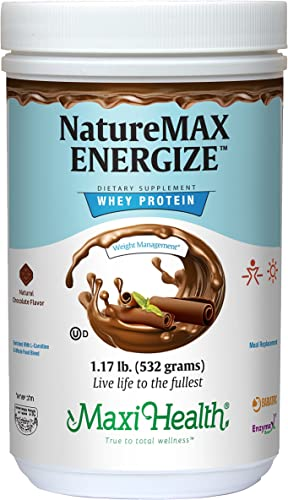 Maxi-Health NatureMax Energize Whey Protein Powder- Energy Support Meal Replacement – 20g Protein Per Serving – Natural Chocolate Flavor – Kosher Dairy Vitamin – 1.17lb