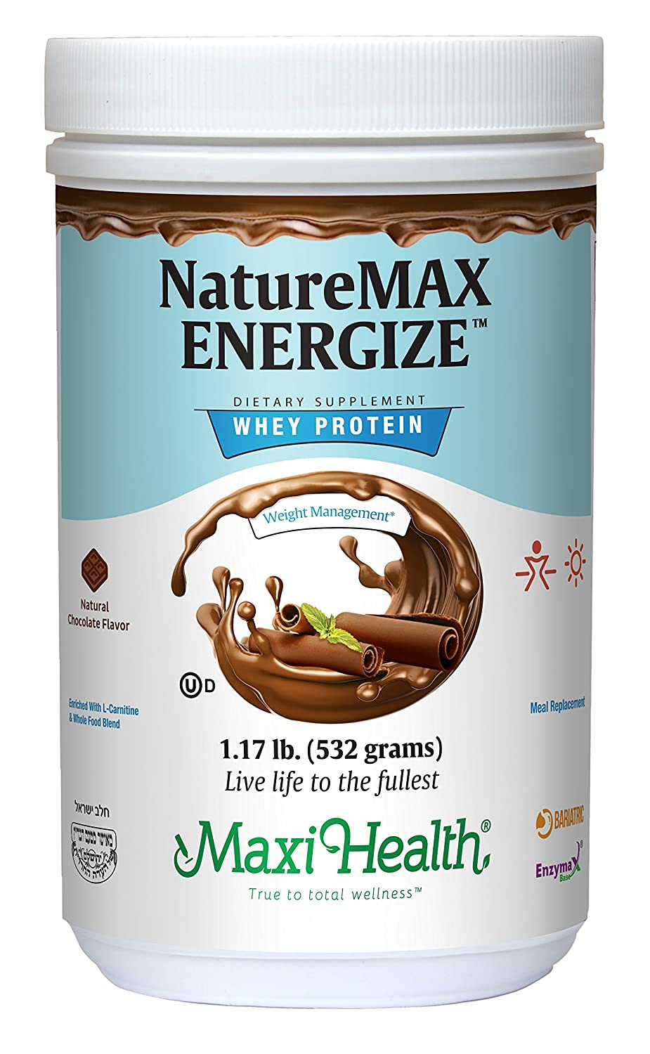 Naturemax Energize – Whey Protein Powder Meal Replacement multivitamin – 25g Pure Proteinper Serving Natural Chocolate Kosher